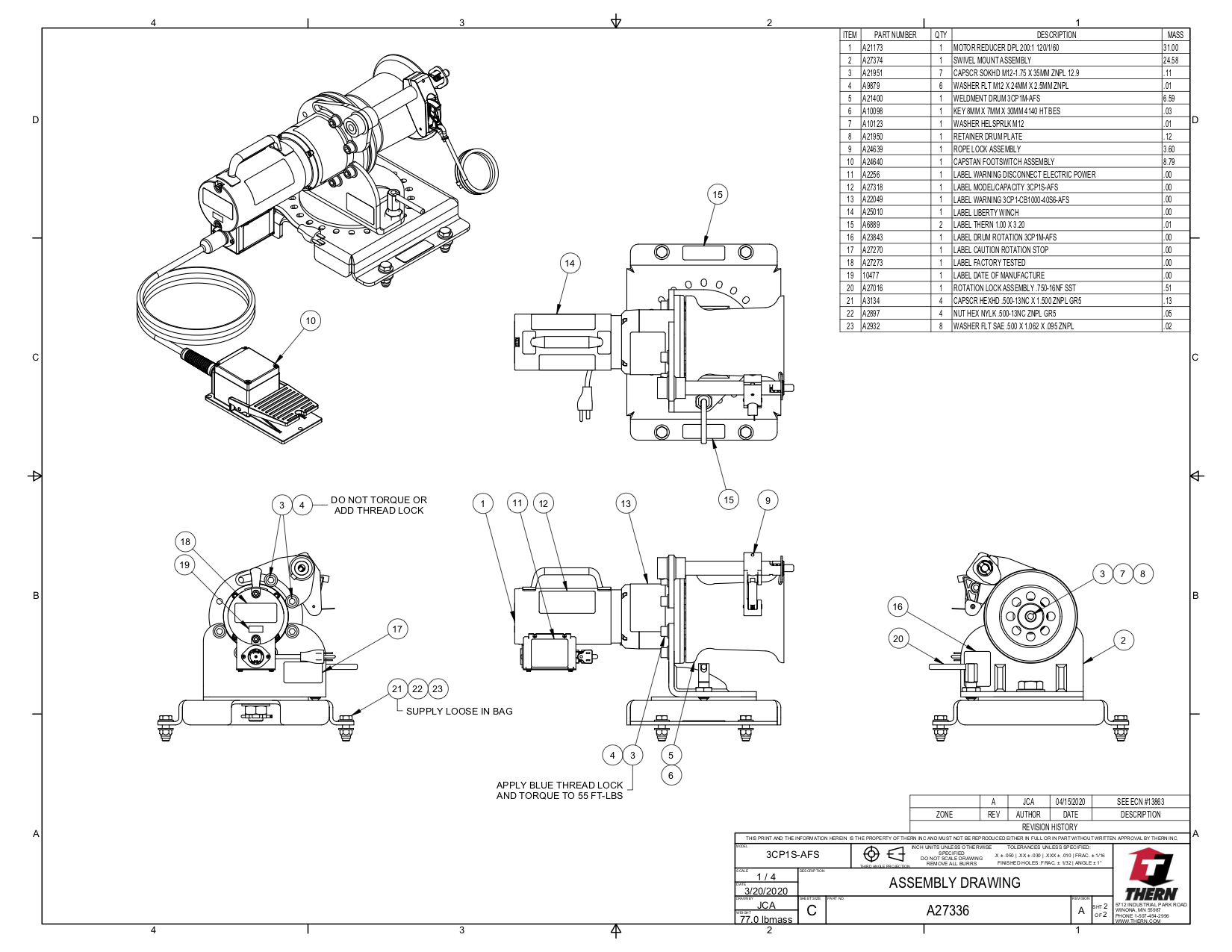 Capstan Winch Drawing